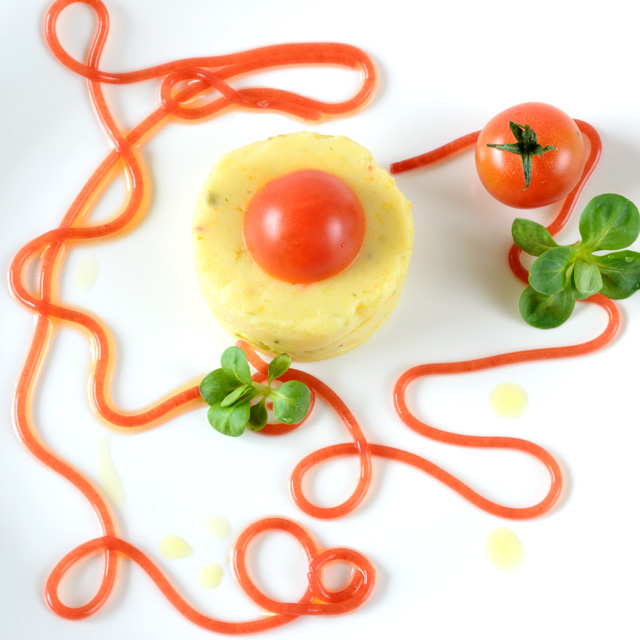vegan potato puree and molecular gastronomy tomato soup